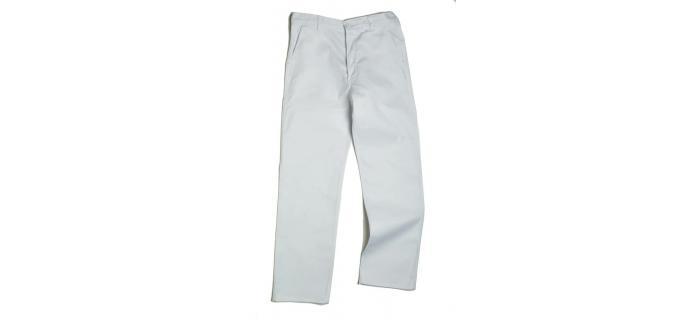 Pantalon bâtiment homme coton polyester blanc
