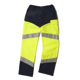 Pantalon fluo Epi-haute visibilité jaune fluo / marine avec bandes réfléchissantes
