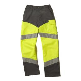 Pantalon fluo Epi-haute visibilité jaune fluo / gris convoy avec bandes réfléchissantes