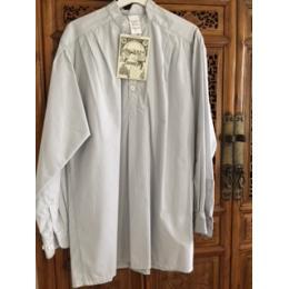 """Chemise """"style grand père"""" blanche à fines rayures grises polycoton du LABOUREUR"""