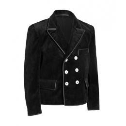 La Gerhard vareuse, veste velours/cuir noir haut de gamme